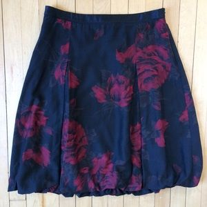 Ann Taylor Black Red Rose Flower Print Midi Skirt